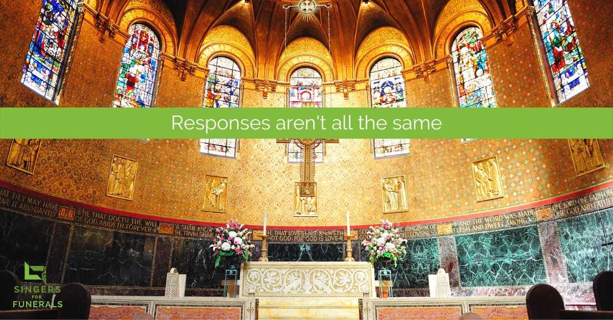 interior Catholic church funeral mass responses